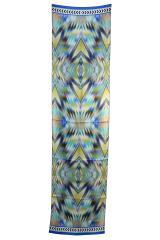 Mirror Ikat Batik Print Silk Strip Scarf